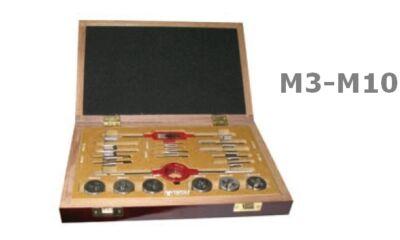 20 részes kézi menetfúró+metsző készlet M3...M10